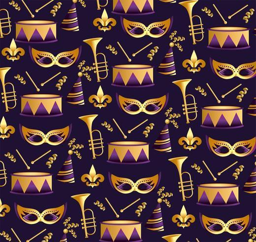 Karnevalmasken mit Trompeten- und Trommelhintergrund vektor