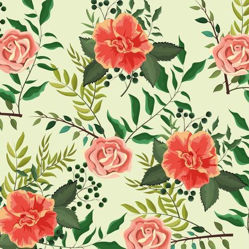 Exotiska rosor växter med bladbakgrund vektor