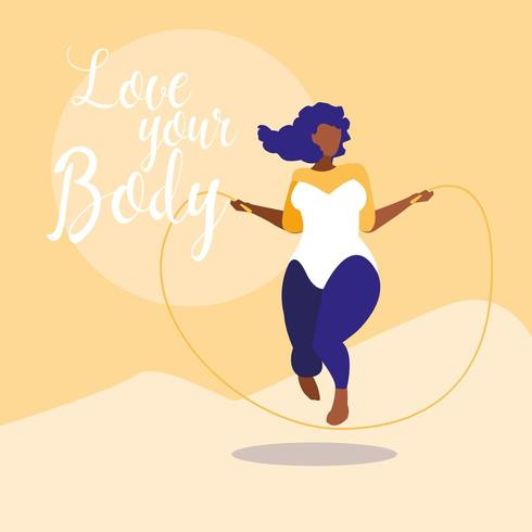 stor kvinna som tränar med kärlek din kroppstext vektor