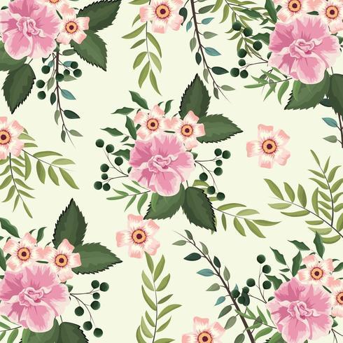Blumen und Rosen Pflanzen mit Zweigen Hintergrund vektor