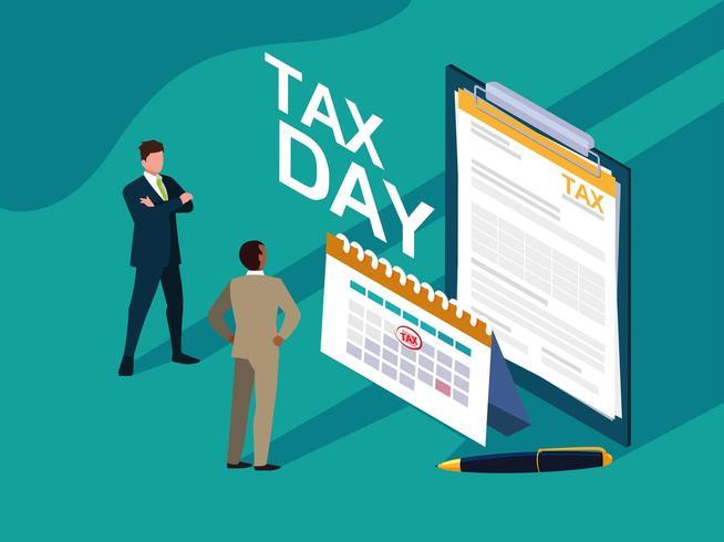 Geschäftsleute in Steuertag mit Zwischenablage und Kalender vektor