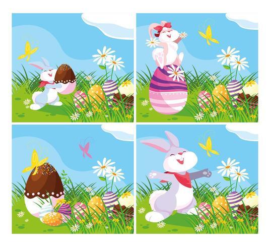Karten mit Kaninchen und Eiern von Ostern im Garten vektor