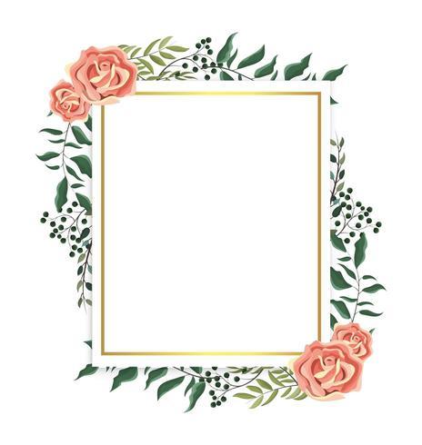 Karte mit Rosen und Zweigen Pflanzen Blätter vektor