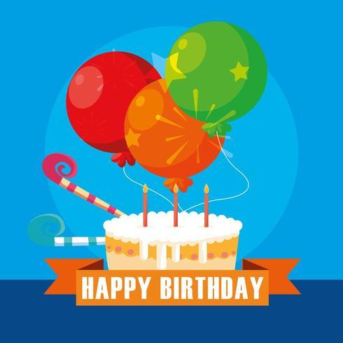 Grattis på födelsedagskortet med söt kaka och ballonger vektor