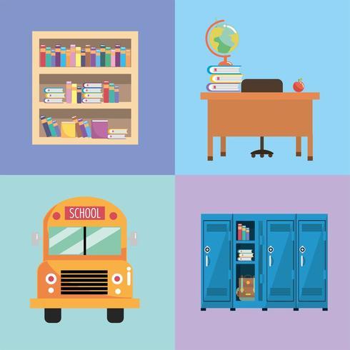 sätta skolredskap för utbildning och studier vektor