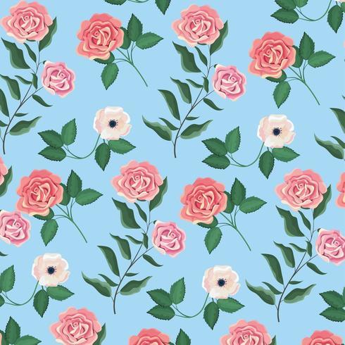 exotische Blumen und Rosen Pflanzen Hintergrund vektor