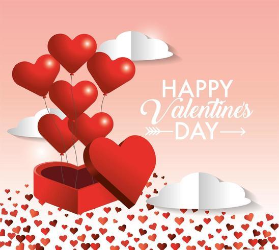 hjärtan ballonger inuti present present av alla hjärtans dag vektor