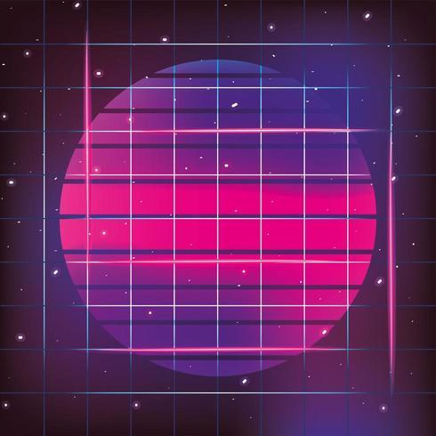 geometrische Sonne Neon und Grafikstil vektor