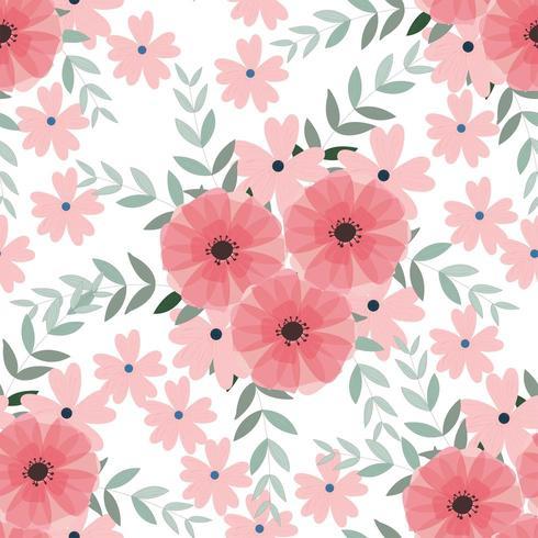 Vintage ljusblå och rosa vilda blommor och blad sömlösa mönster vektor