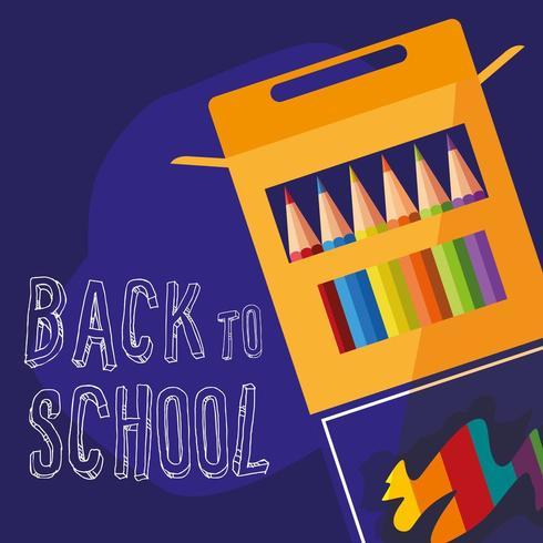 Zurück zu Schulkasten des farbigen Bleistiftplakats vektor