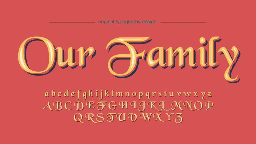 Elegant gul kalligrafi display typsnitt vektor