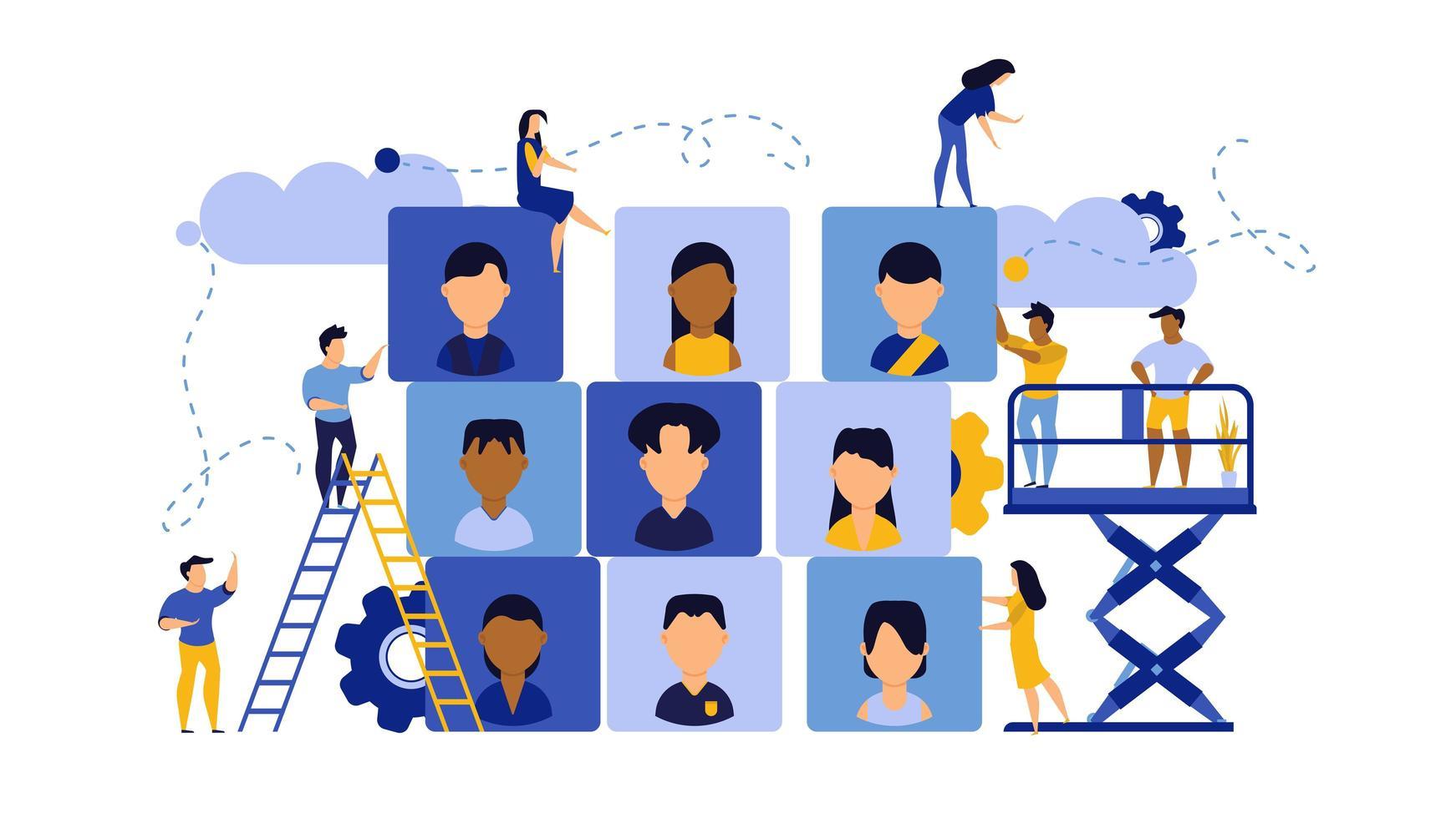 Job Karriere Geschäftserfolg Agentur Publikum vektor