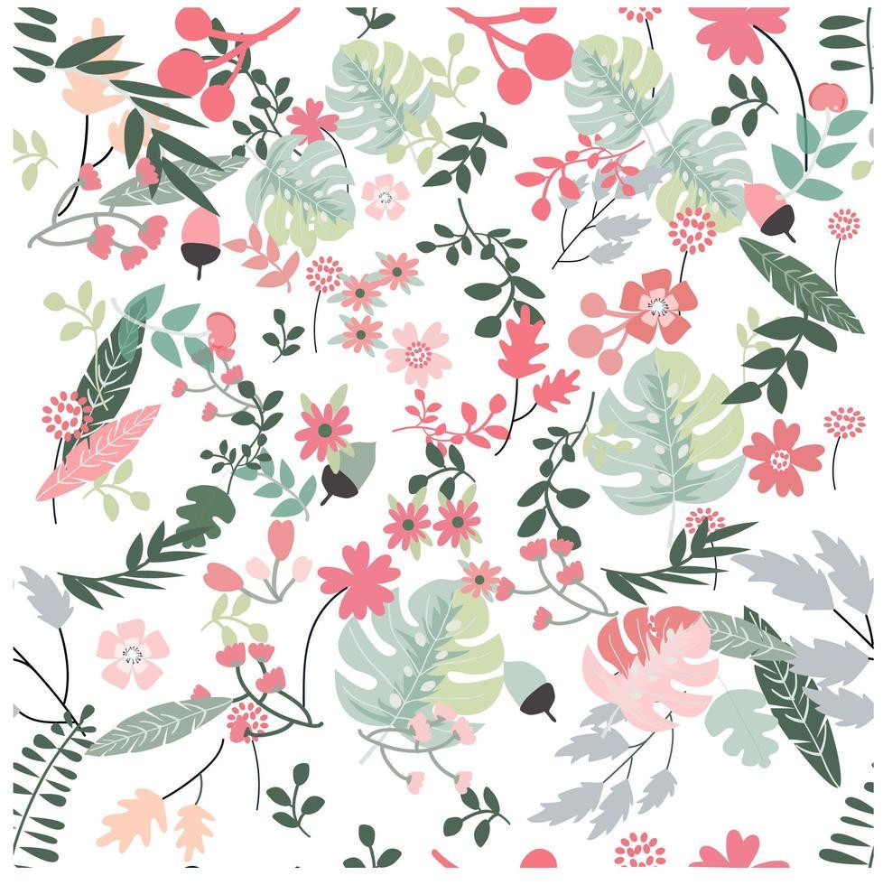 Blomma och lämna tropiska botaniska sömlösa mönster vektor