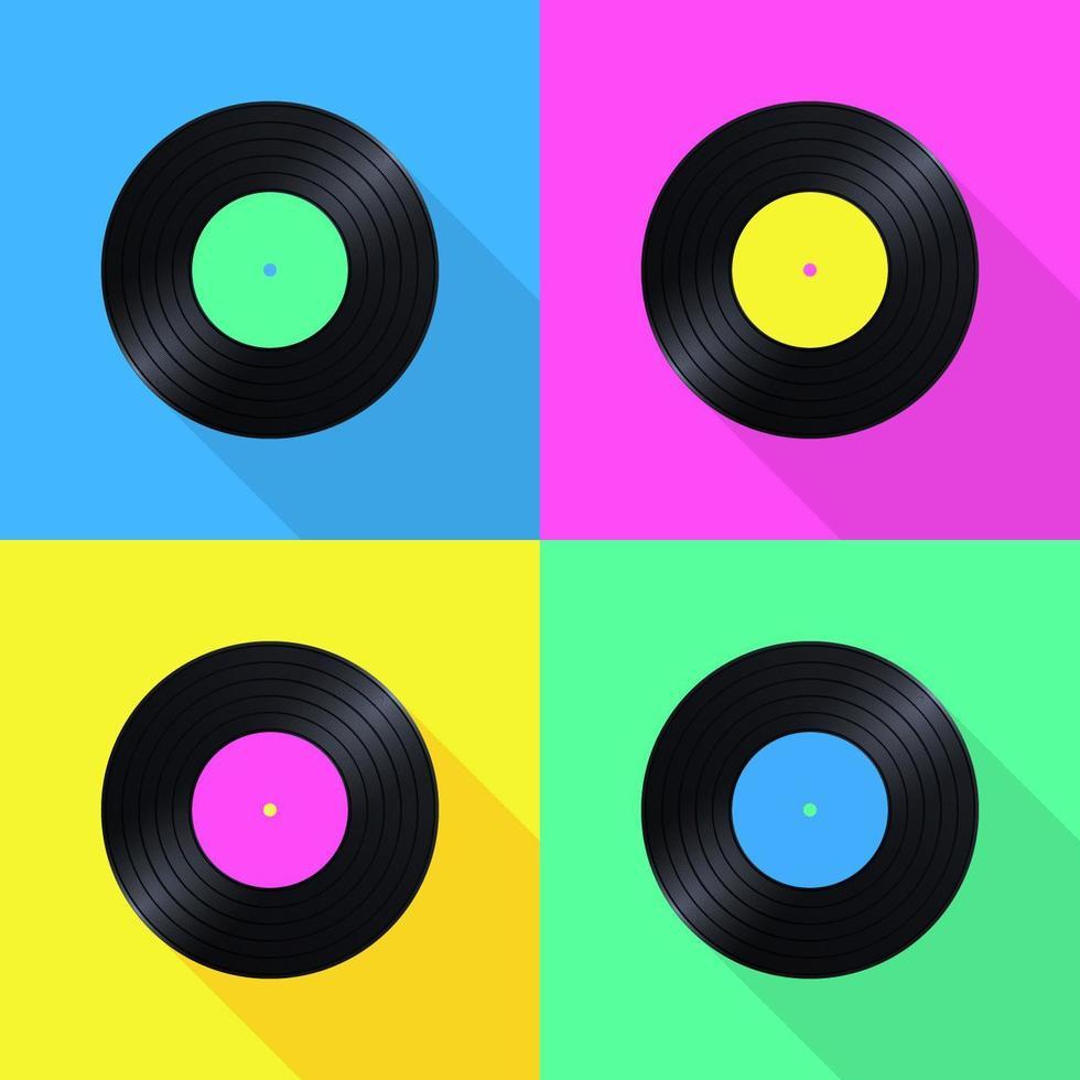 Old School Vinyl Records Pop Ikoner vektor