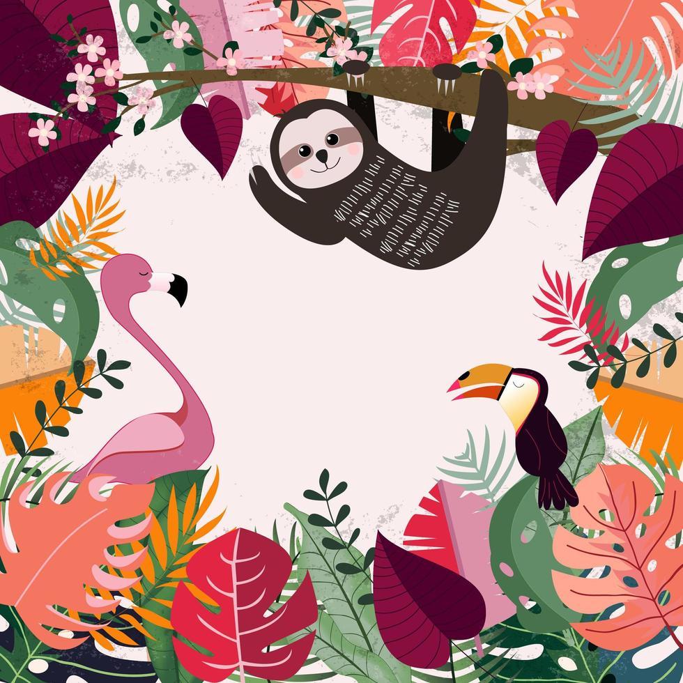 Tier im rosa tropischen Dschungel vektor