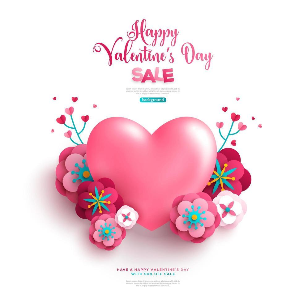 Hjärta med papperssnittblommor och grenar vektor