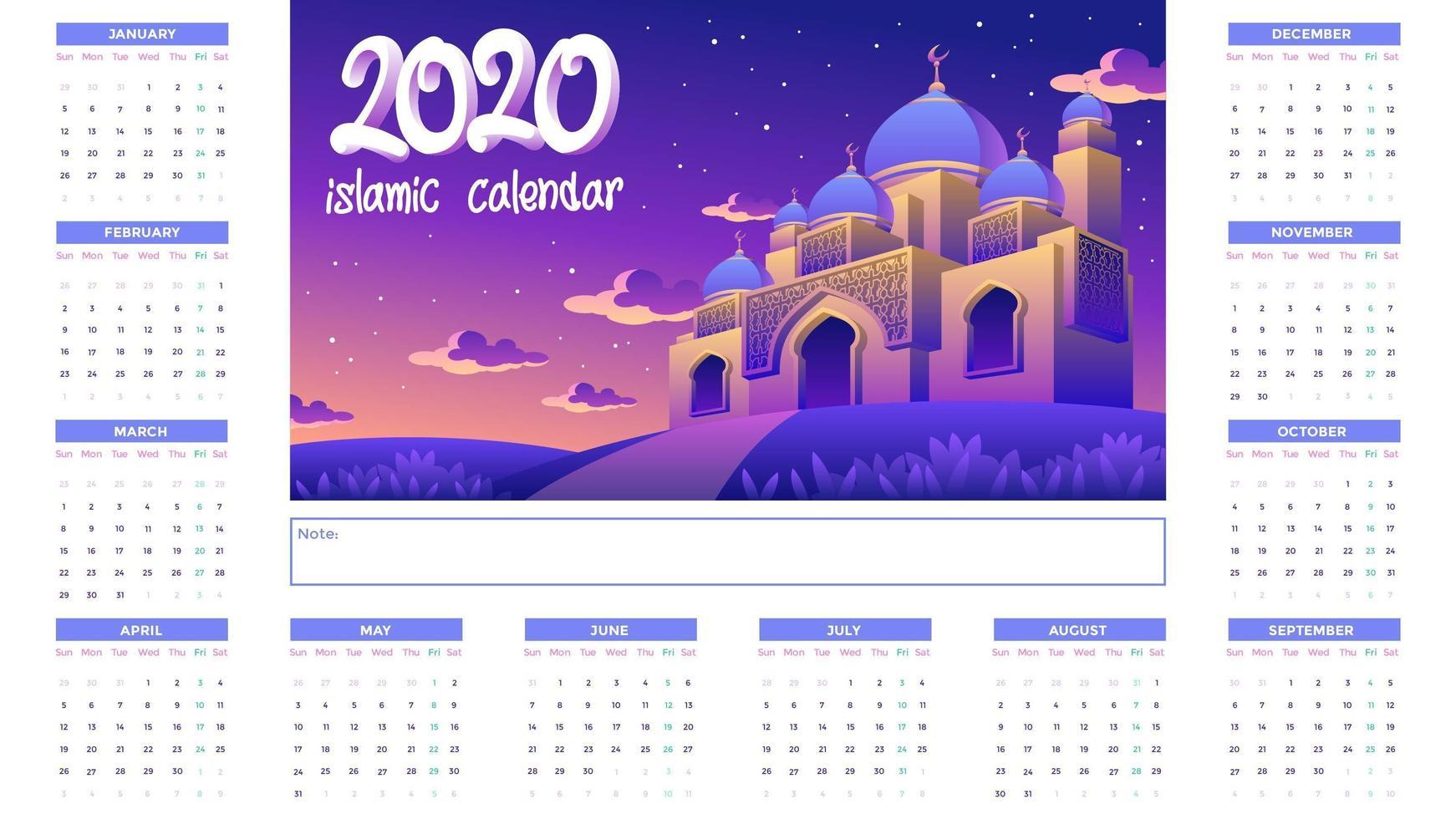 Islamischer Kalender 2020 mit goldener Moschee nachts vektor