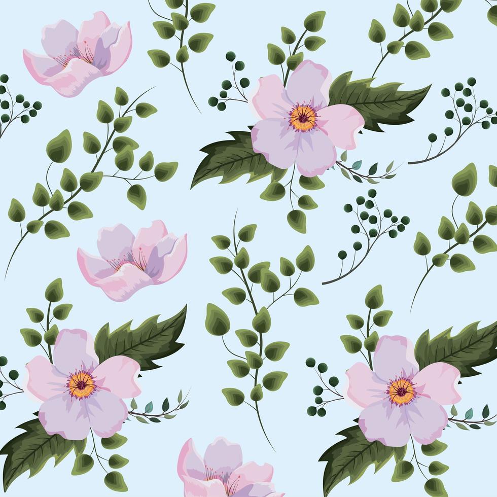 Exotiska blommor växter med grenbakgrund vektor