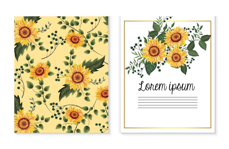 Set Karte mit Sonnenblumen Pflanzen und Zweigen Blätter vektor