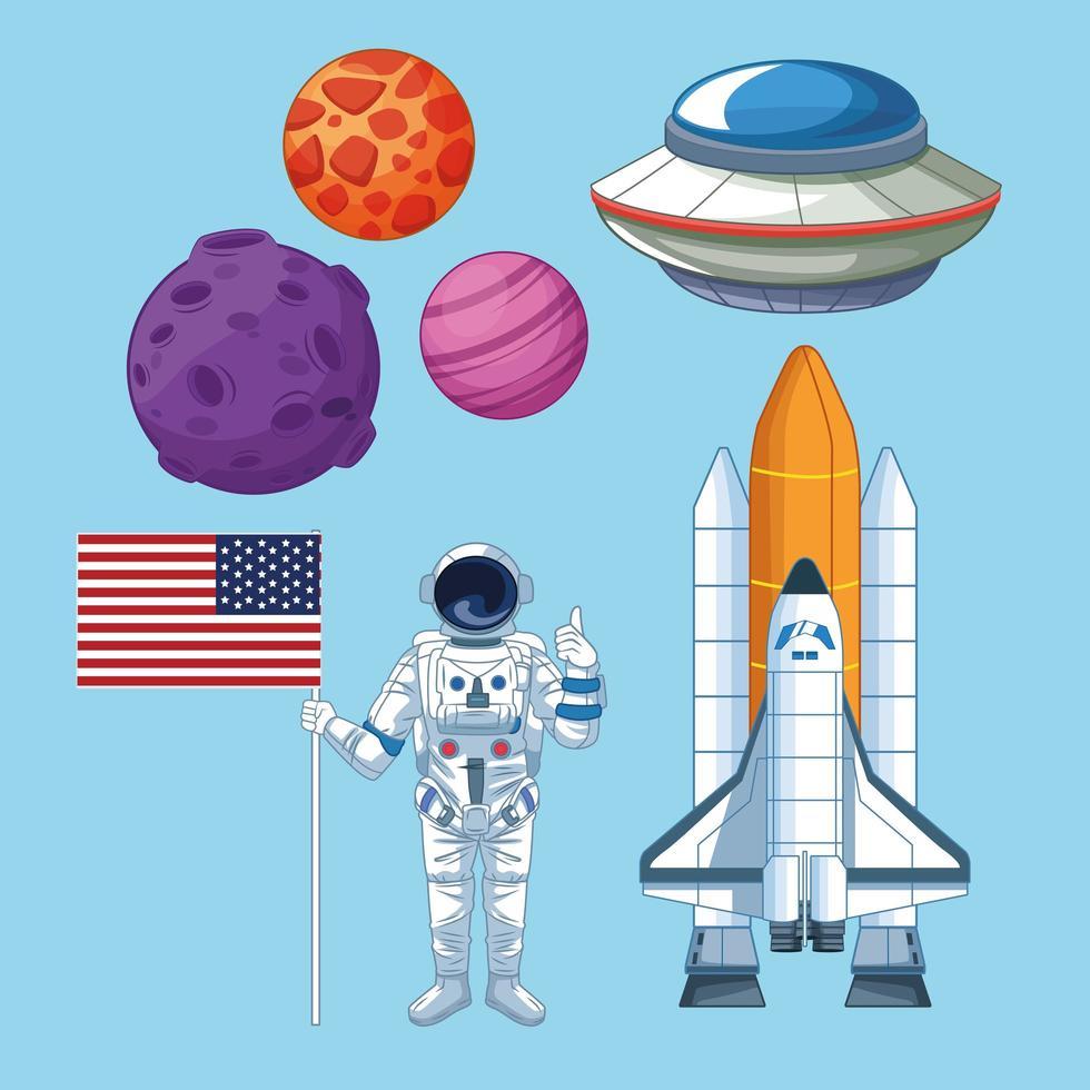 Raumfahrt- und Astronautenset Ikonen vektor