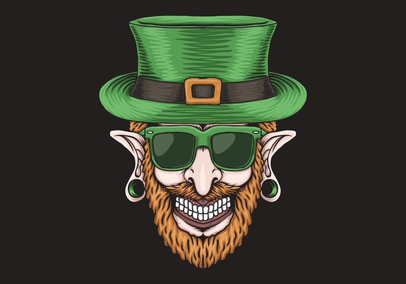 Leprechaun med piercinghuvudet St. Patrick's day design vektor