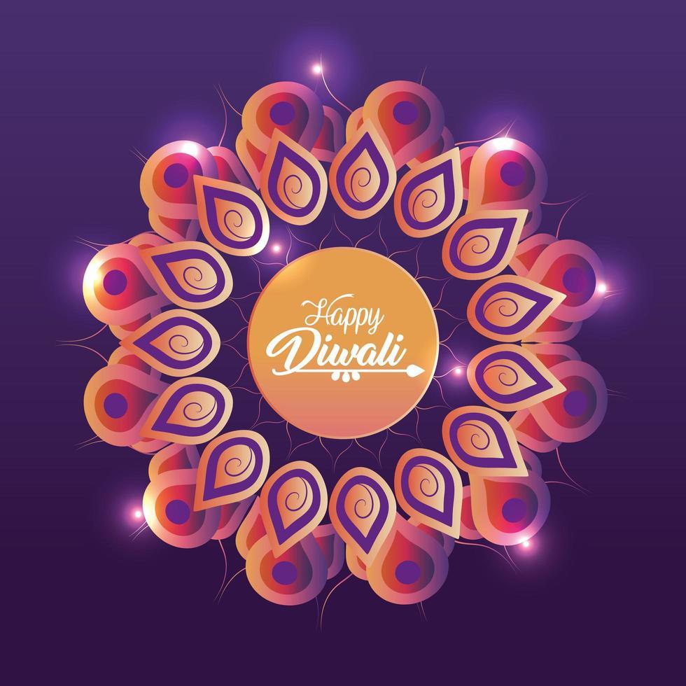 diwali festival med blommamandala och ljus vektor