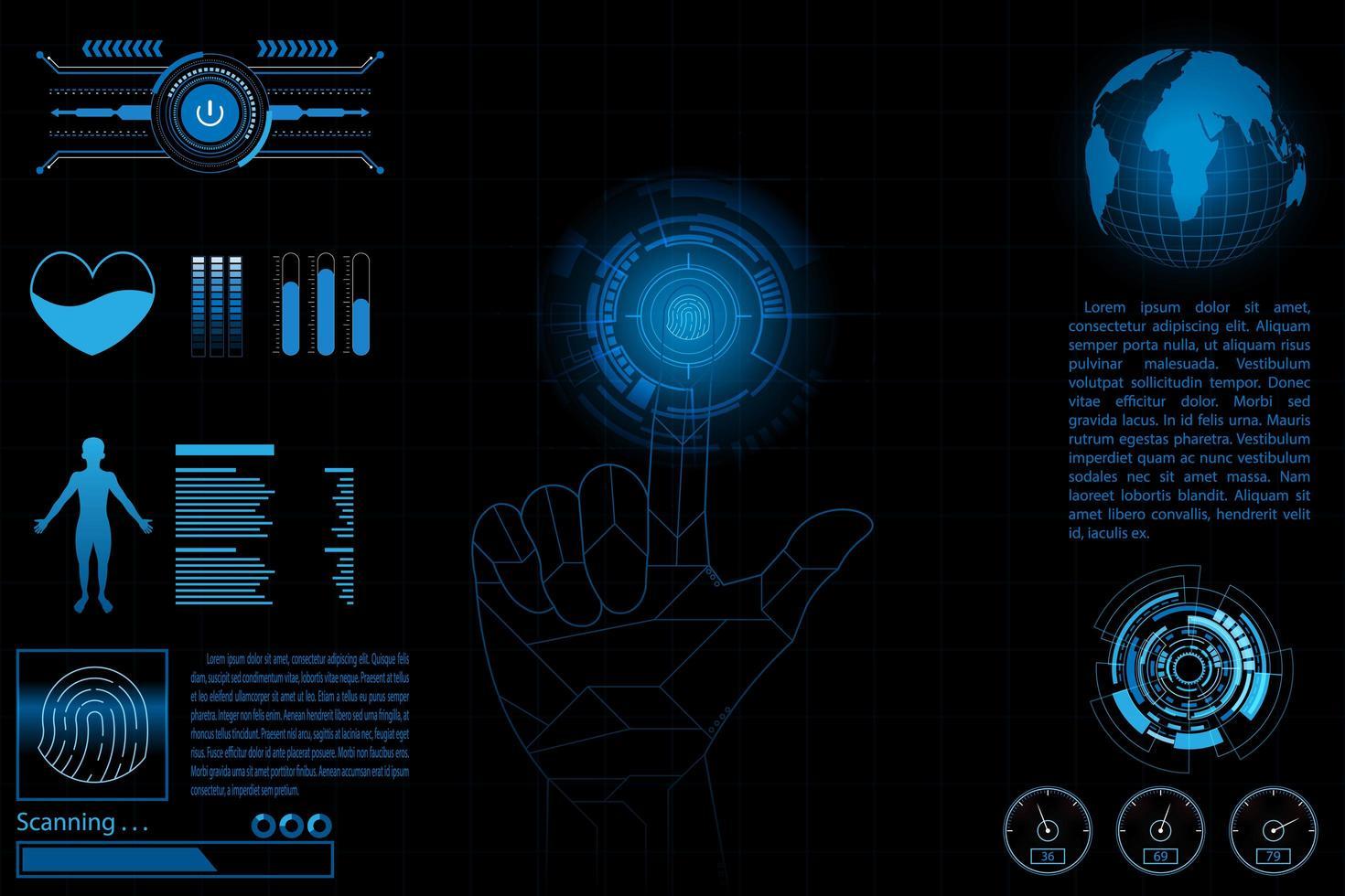 Framtida datainstrumentbord, diagram, digitalt koncept vektor