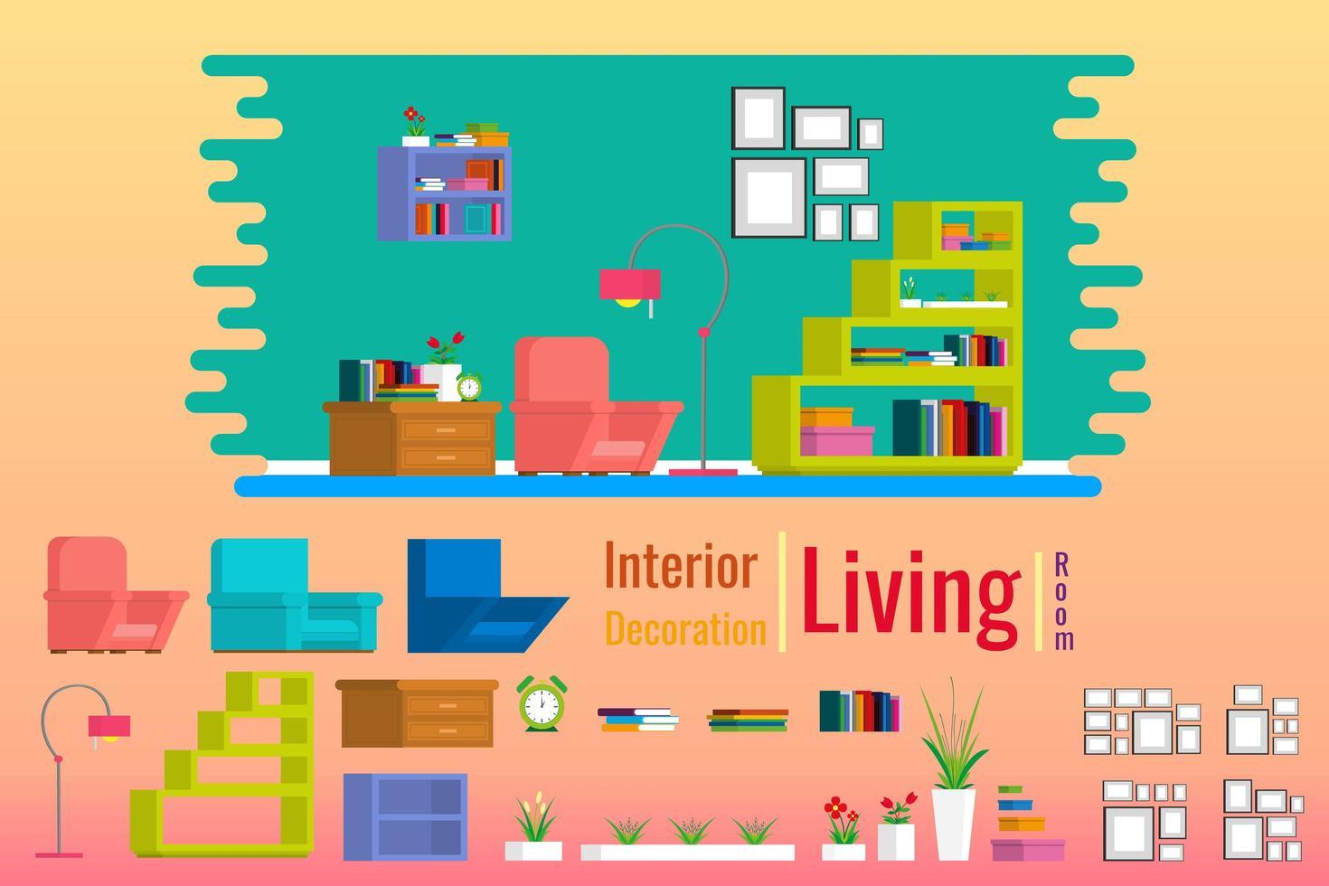 Inre vardagsrum med möbler i hus vektor