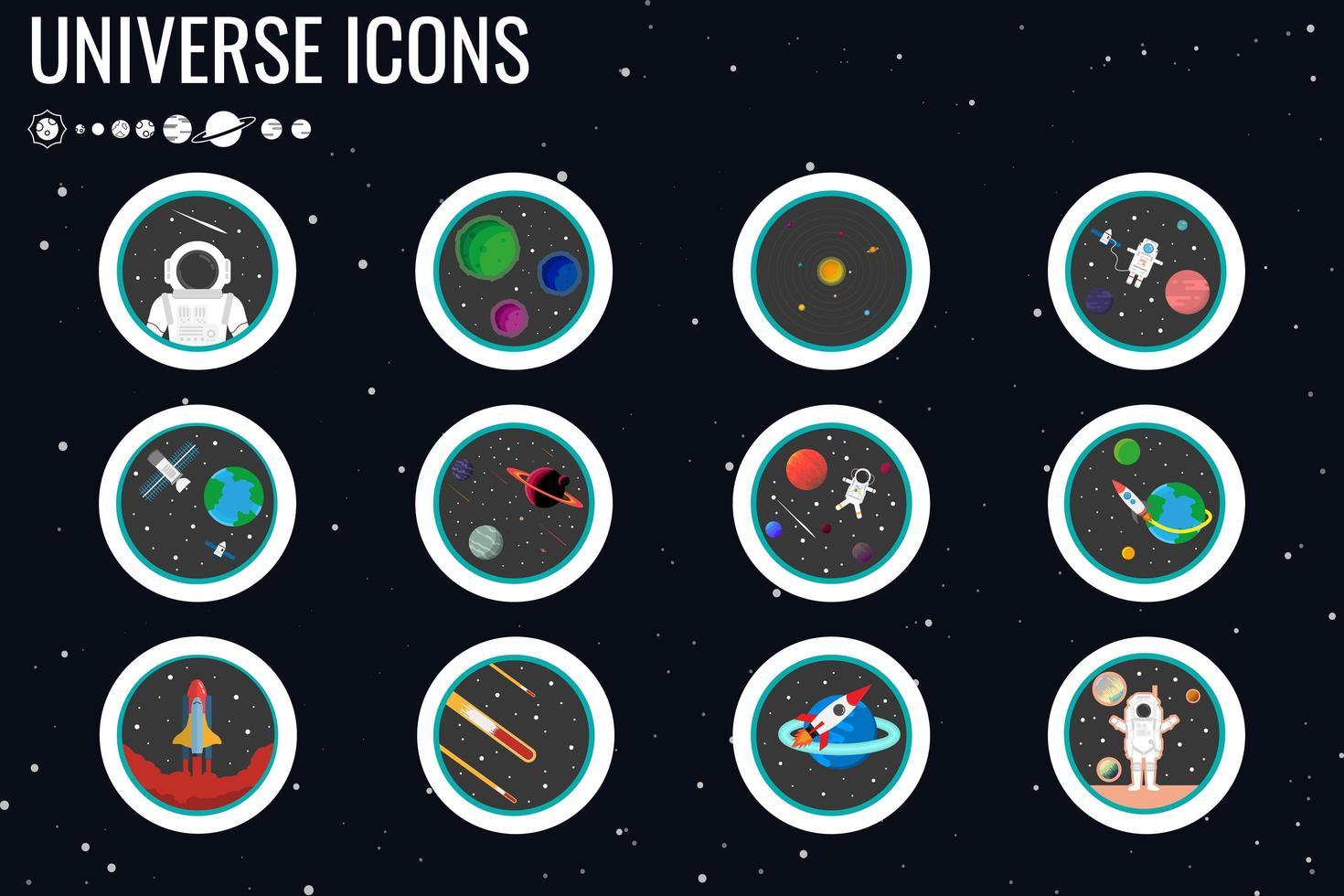 Astronauten- und Planetenikonensatz vektor