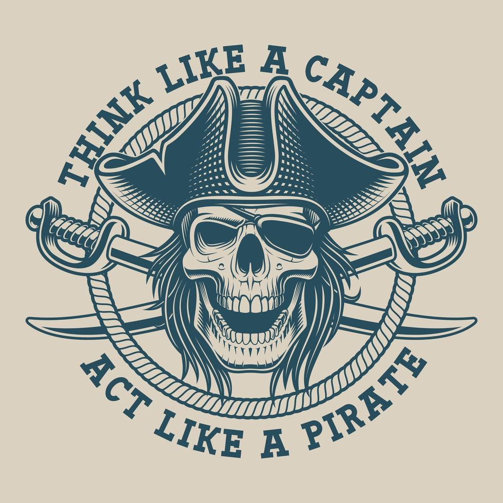 T-shirtdesign med en piratskalle och sabel vektor