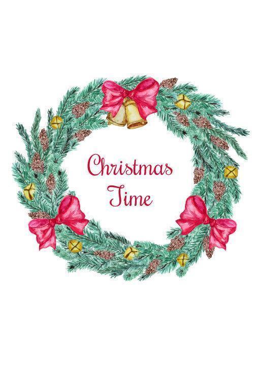 Christmas Time Krans med pilbågar och klockor vektor