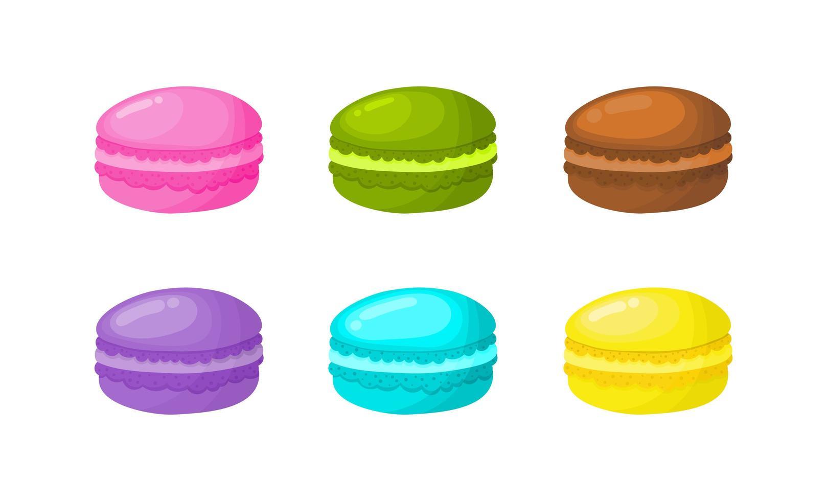 Cartoon-Makronen auf weißem Hintergrund für Café oder Restaurant festgelegt vektor