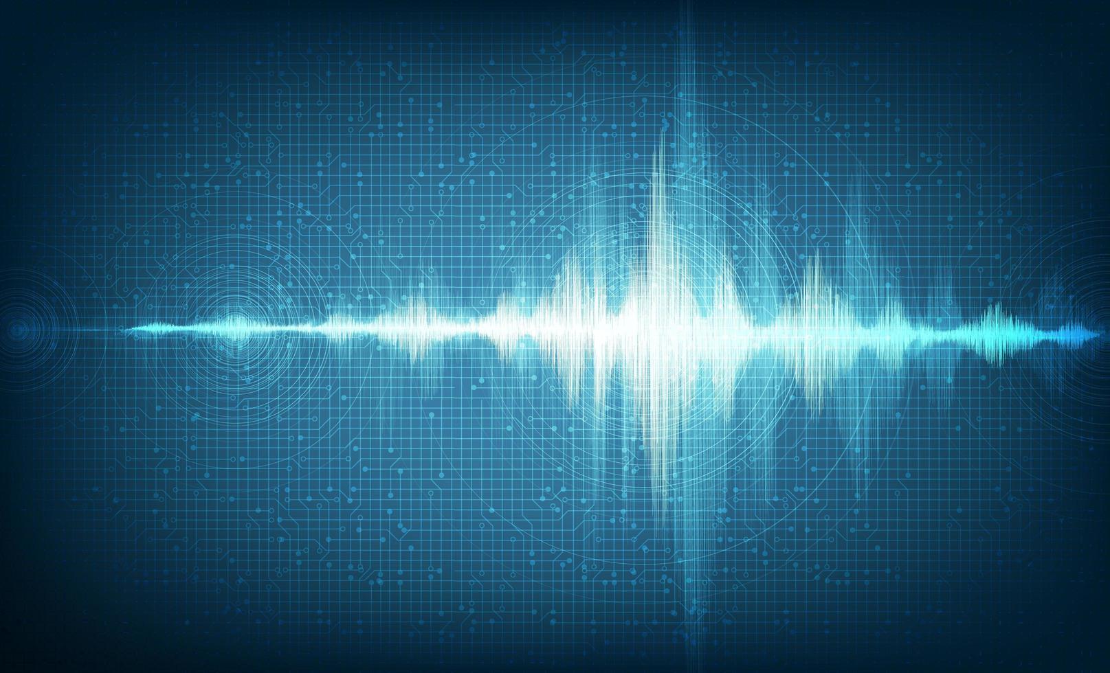 Hi-Tech Digital Sound Wave Niedrig und hoch auf technologischem Hintergrund. vektor