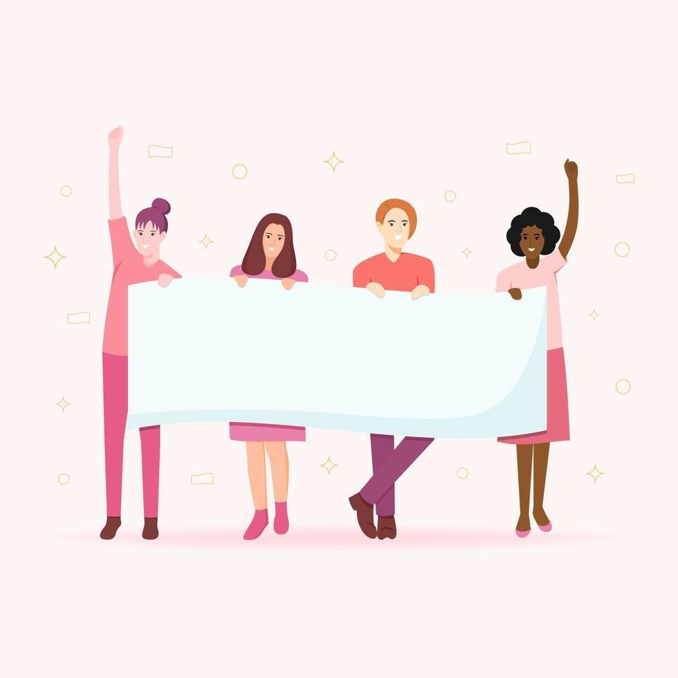 Die Energieillustration des Mädchens mit 4 Frauen, die leere Fahne halten vektor