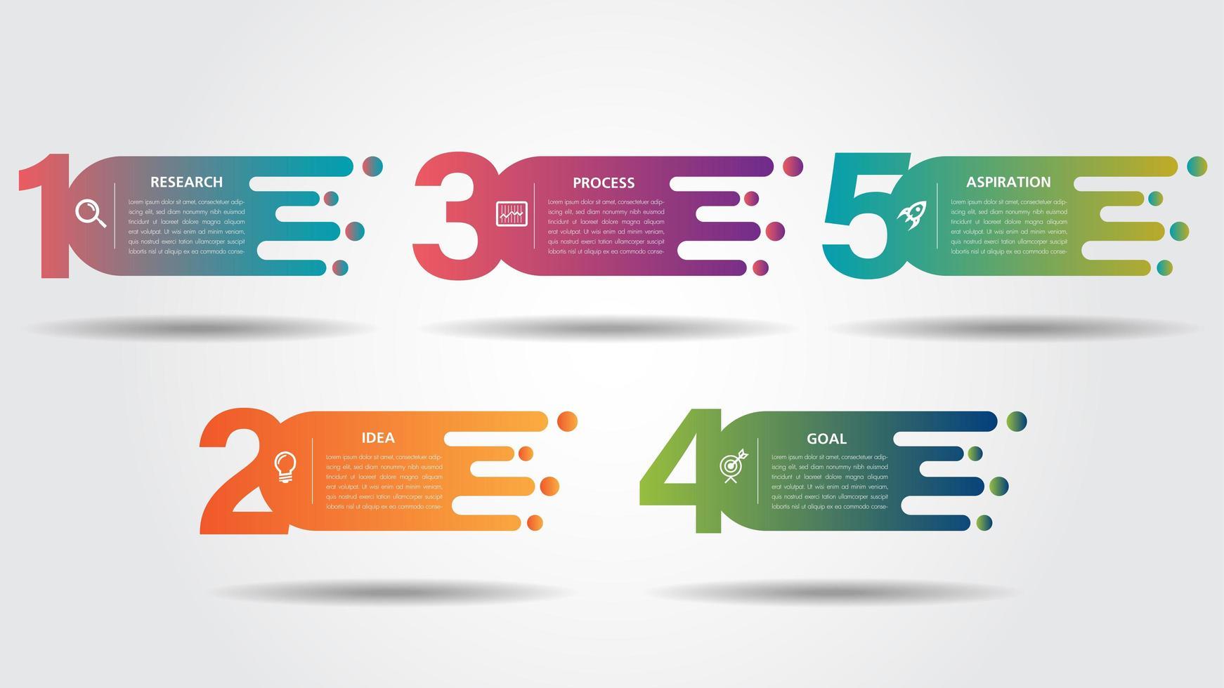 Designschablone des Geschäfts Infographic mit bunten Ikonen vektor