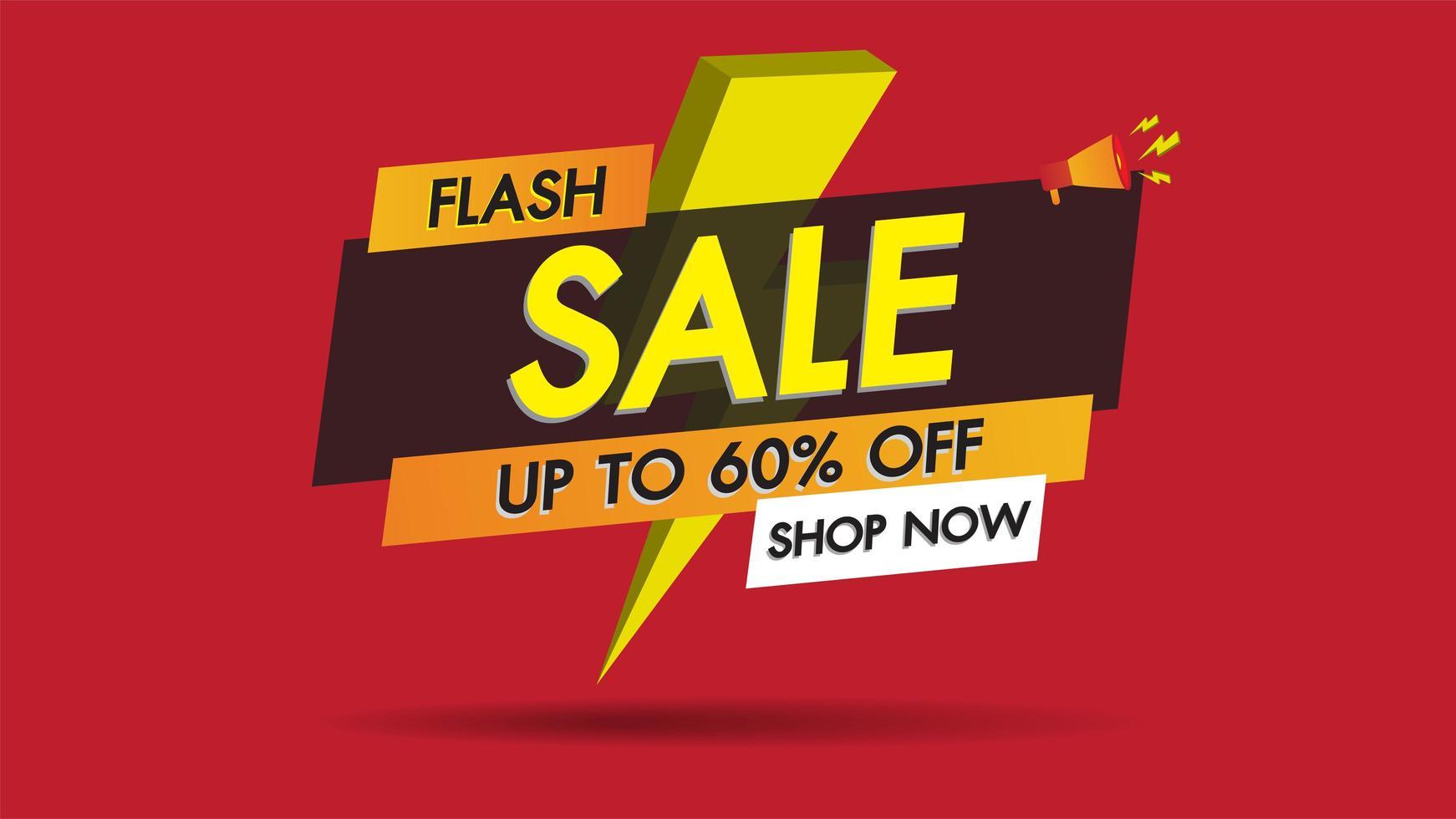 Grelle Verkaufsfahnenförderung mit Blitzbolzen auf rotem Hintergrund vektor