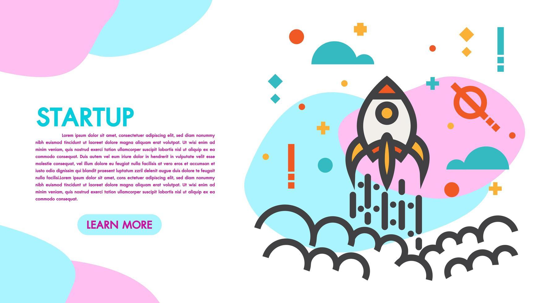Start och teamwork modern platt design webbbaner vektor