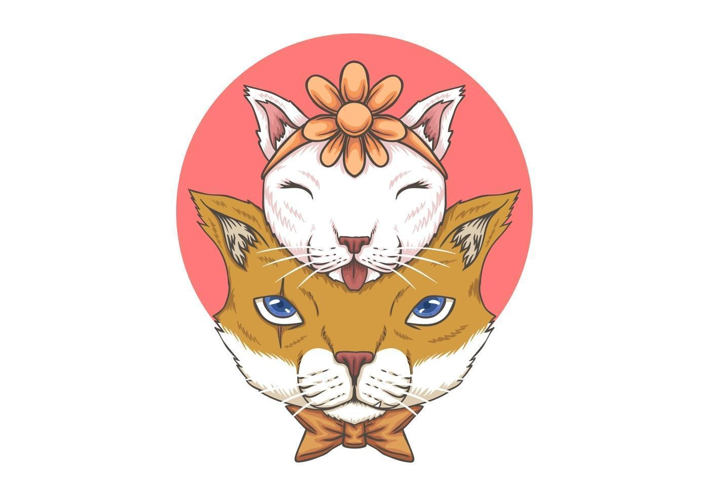 Kattfader- och barnillustration vektor