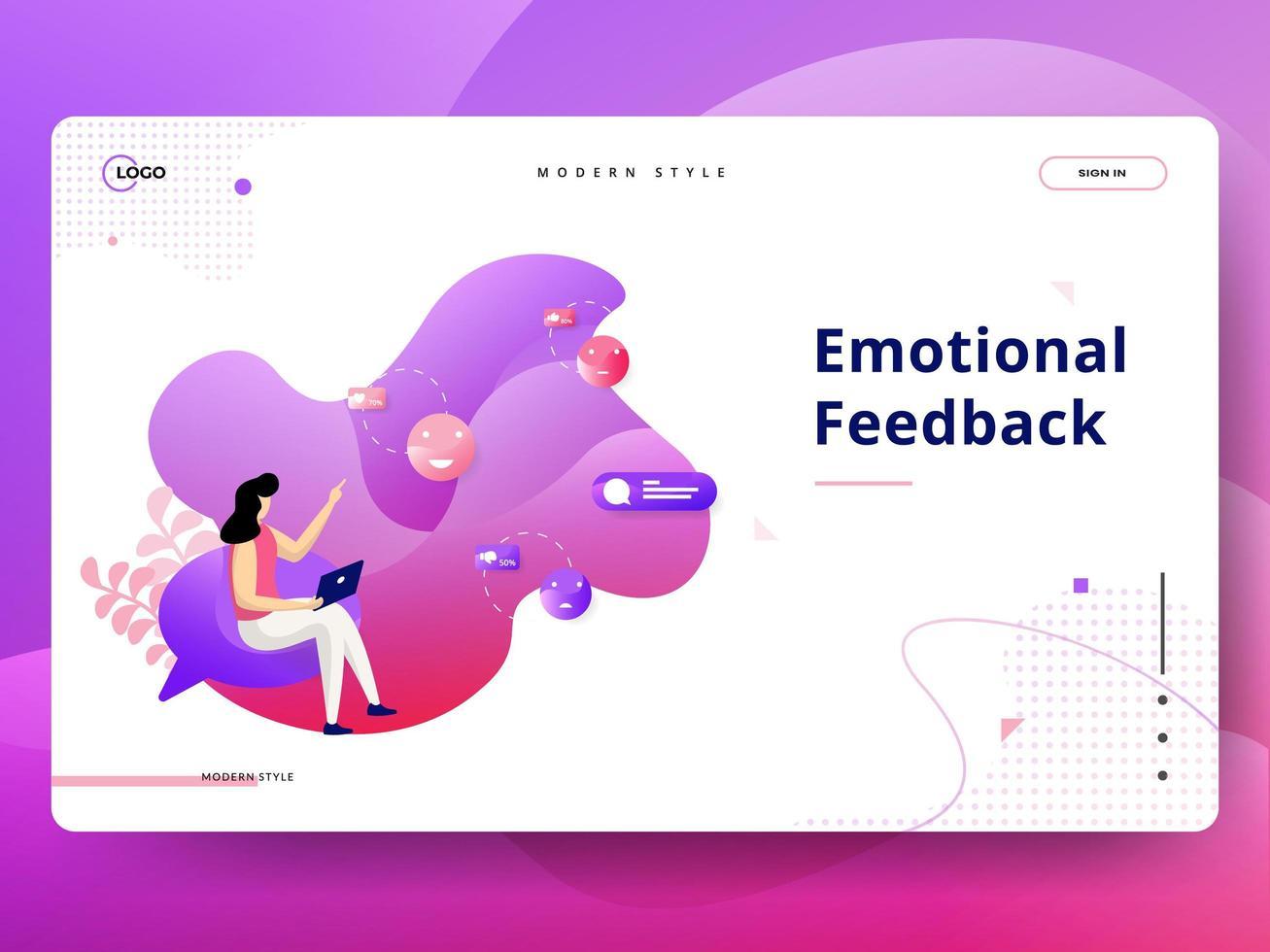 Landing Page Emotionales Feedback vektor