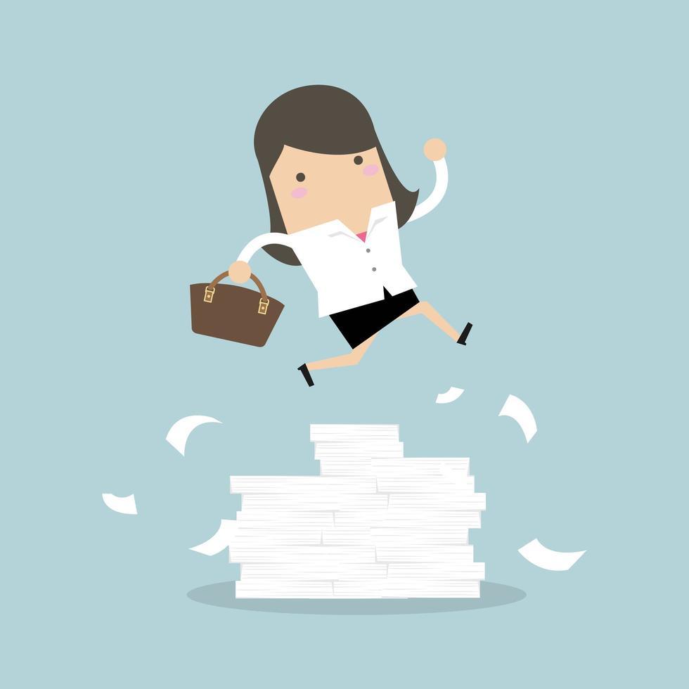 Geschäftsfrau oder Manager, die über Hindernisse springen vektor