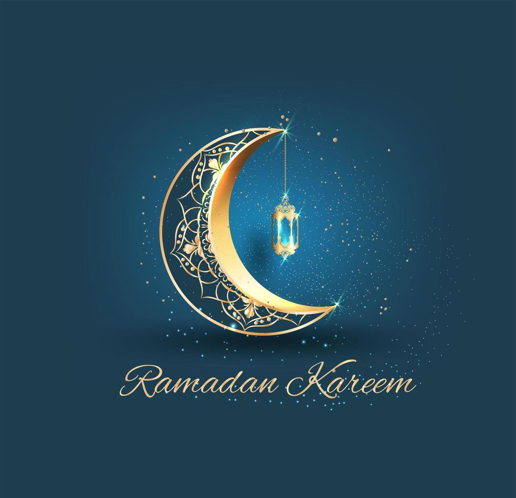Goldener aufwändiger Halbmond für Ramadan Kareem vektor
