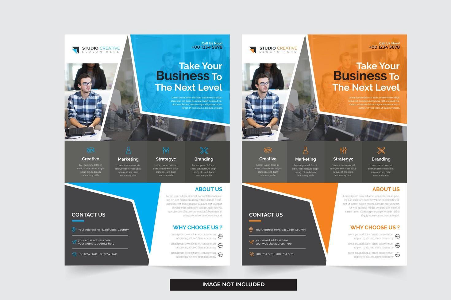 Blå och orange affärsmallar med modern vinklad design vektor