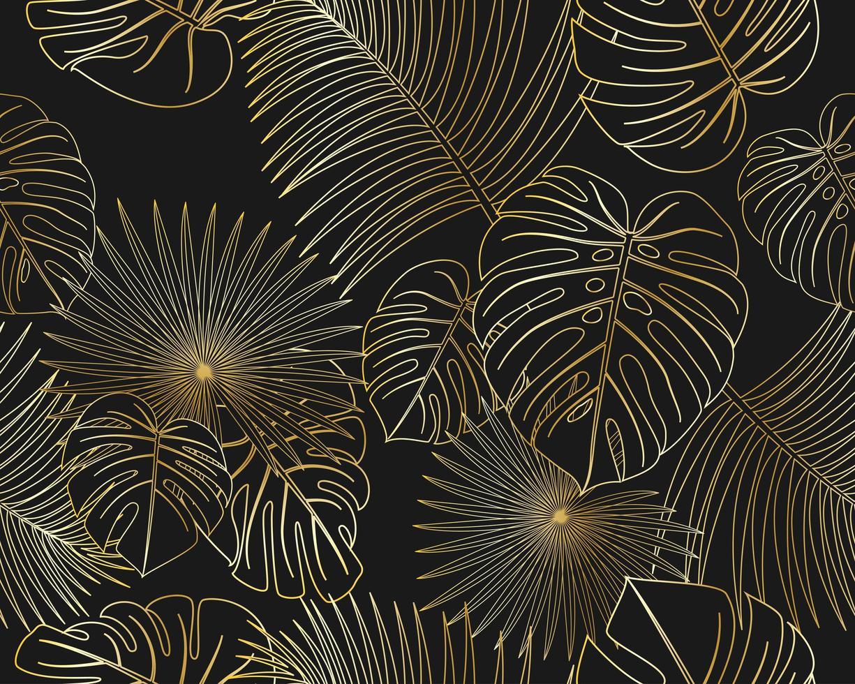 Nahtloses Muster von tropischen goldenen Palmblättern des exotischen Dschungels auf schwarzem Hintergrund vektor