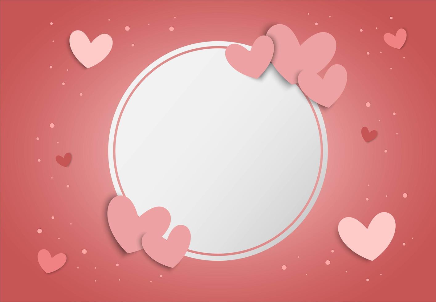 Bakgrund för valentindag med rosa hjärtan och ram för vitvit cirkel vektor