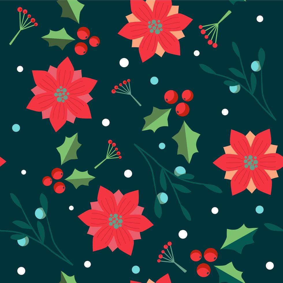 Jul sömlösa mönster med julstjärna, järnekbär och blad. vektor