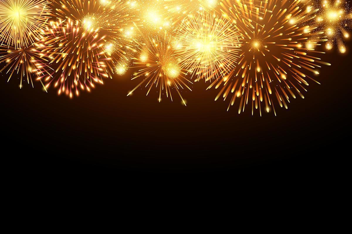 Sammlung goldene Feuerwerks- und Lichtglühenspezialeffekte entlang Oberseite des schwarzen Hintergrundes vektor