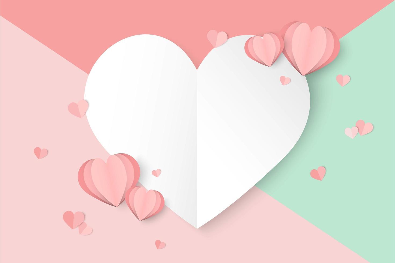 Bakgrund för alla hjärtans dag med färgglada avsnitt och papperssnitthjärtor vektor