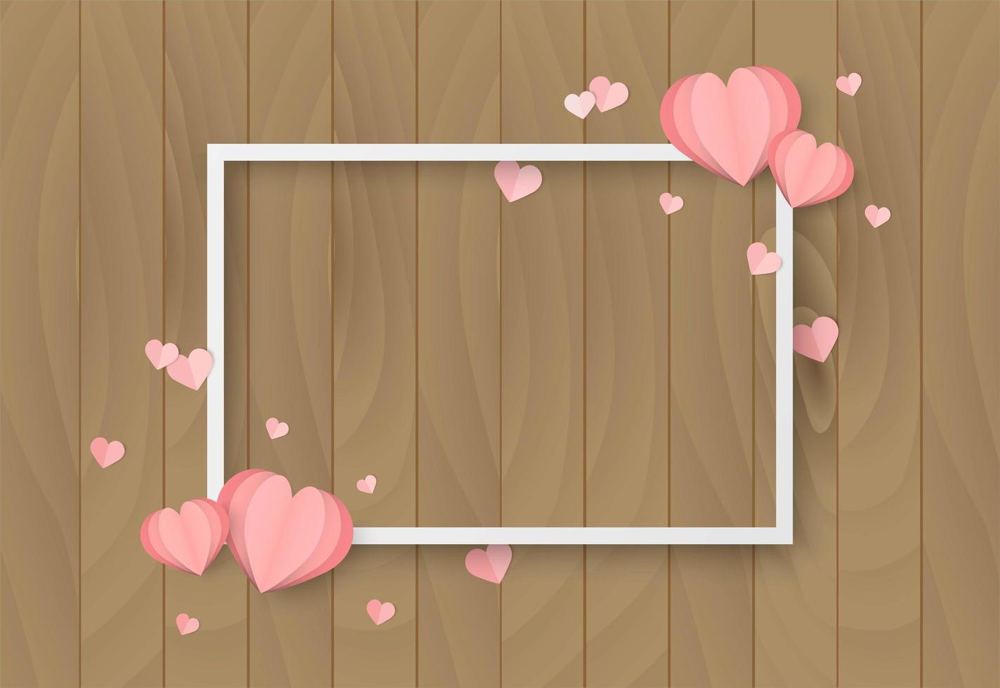 Träbakgrund för valentindag med hjärtaform och vit ram vektor