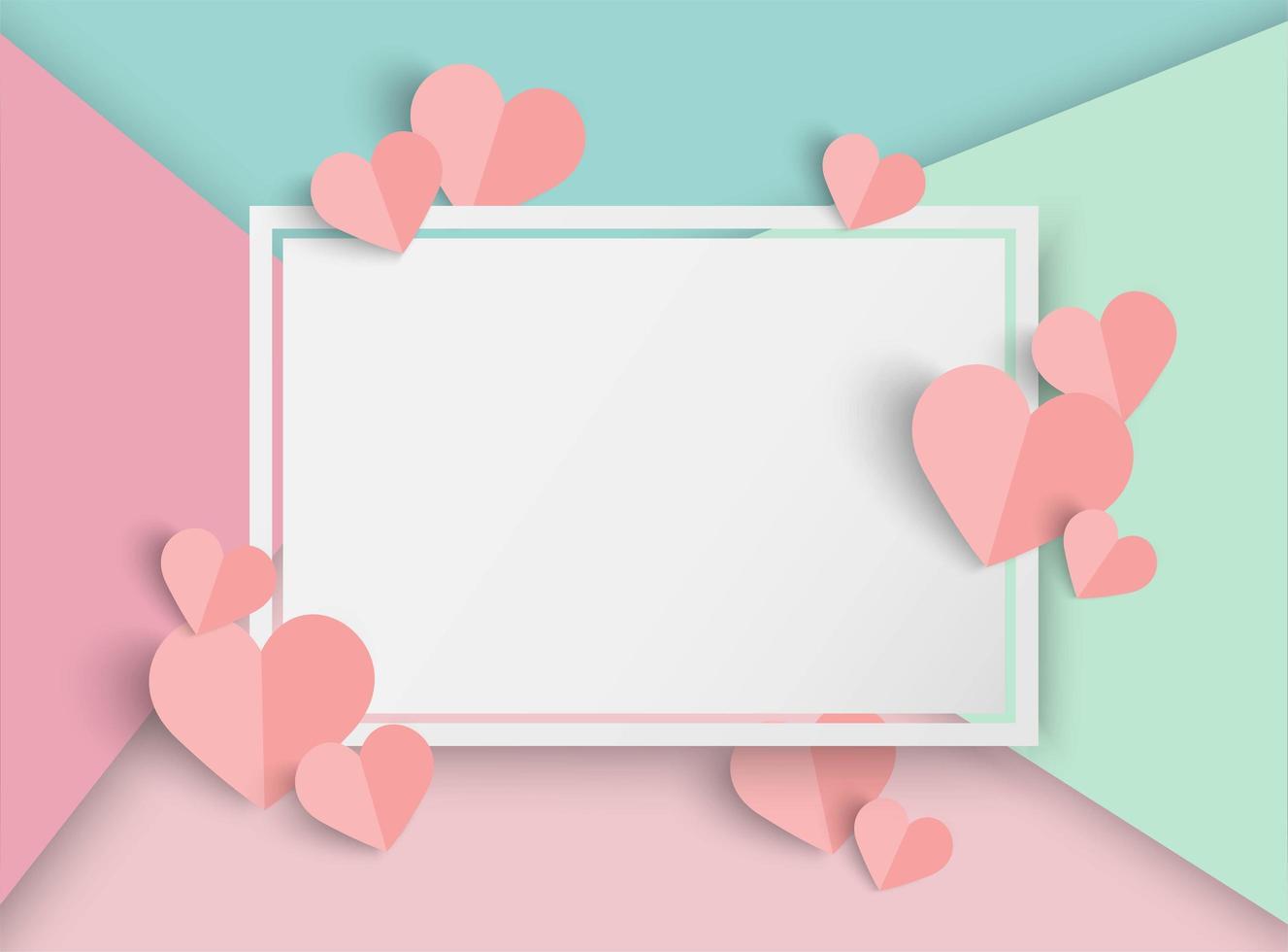 Valentinbakgrund med färgglada sektioner, hjärtan och tom vit rektangelram vektor