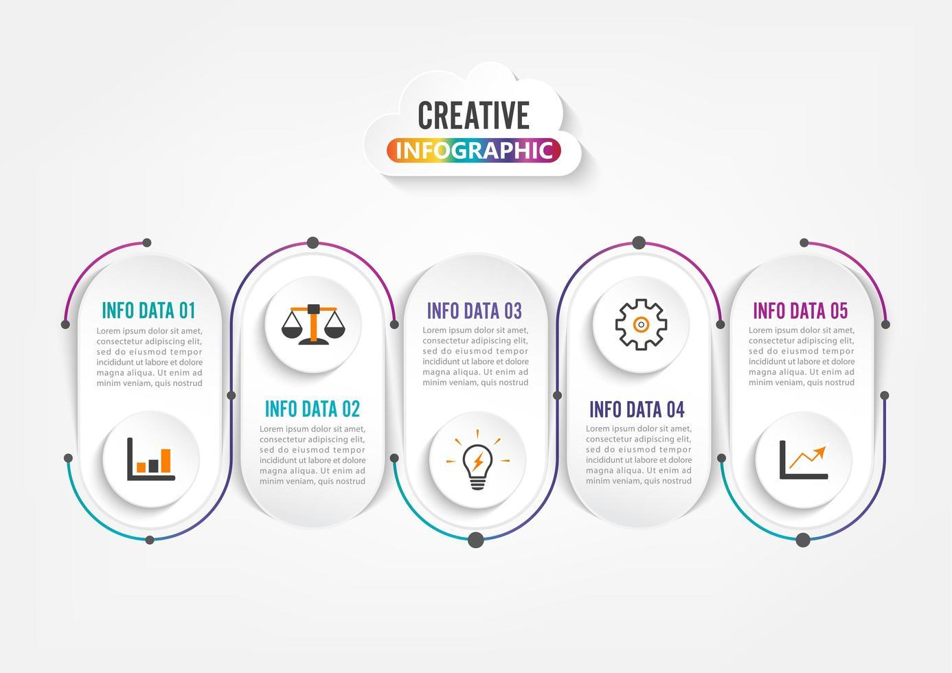Fem steg infografik. Mall för broschyr, företag, webbdesign. vektor